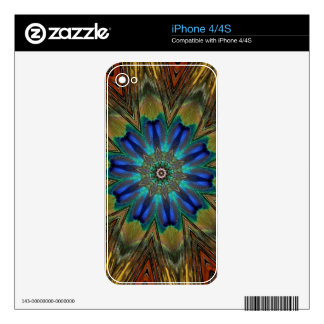 Peacock Feather Mandala Kaleidoscope Skin For The iPhone 4S