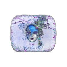Peacock Feather Masquerade Mask Candy Tin at Zazzle