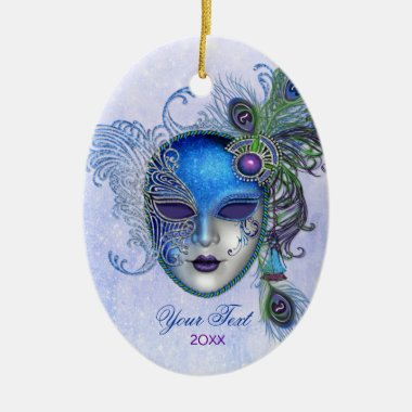 Peacock Feather Masquerade Mask Ceramic Ornament