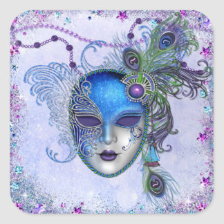 Peacock Feather Masquerade Mask Square Sticker