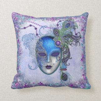 Peacock Feather Masquerade Mask Throw Pillow
