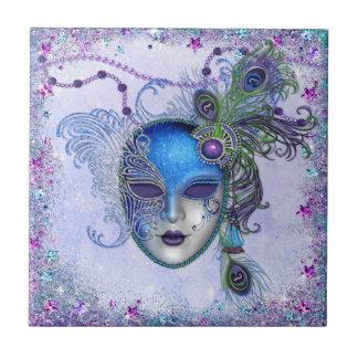 Peacock Feather Masquerade Mask Tile