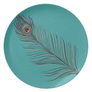 Peacock Feather Melamine Plate