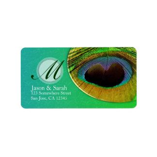 Peacock Feather Monogram Address Label