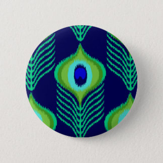 Peacock feather moroccan ikat design pinback button