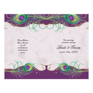 Peacock Feather n Swirls -  Formal Wedding Program
