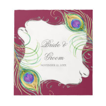 Peacock Feather n Swirls - Wedding Favor Tags Memo Notepad