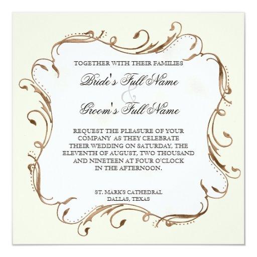 "Peacock Feather n Swirls - Wedding Invitation 5.25"" Square Invitation Card"