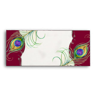 Peacock Feather n Swirls - Wedding Stationery Envelope