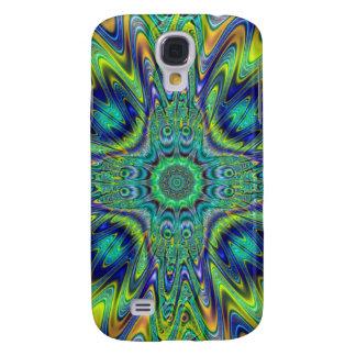 Peacock Feather Neon Fractal Funky Designer Art Samsung Galaxy S4 Case