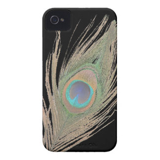 Peacock Feather on Black iPhone 4 Cover