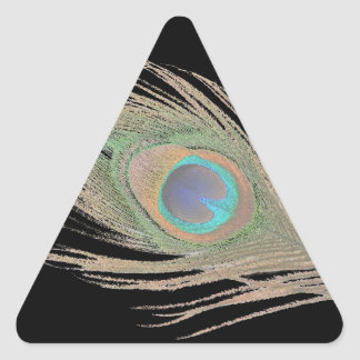 Peacock Feather on Black Triangle Sticker