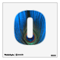 Peacock Feather on Blue 0 Wall Decal