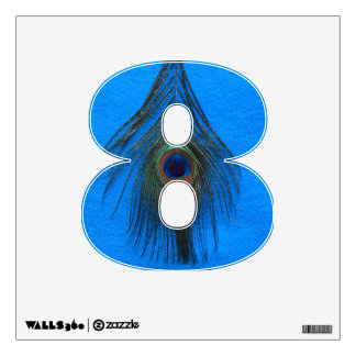 Peacock Feather on Blue 8 Wall Decal