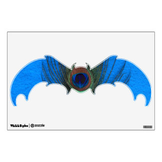 Peacock Feather on Blue Bat Wall Decal