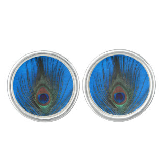 Peacock Feather on Blue Cufflinks
