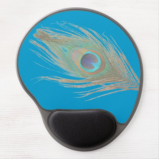 Peacock Feather on Blue Gel Mouse Pad