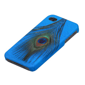 Peacock Feather on Blue iPhone 4/4S Case