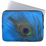 Peacock Feather on Blue Laptop Sleeves