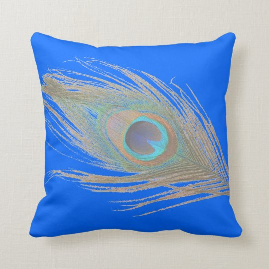 Peacock Feather on Blue Throw Pillow