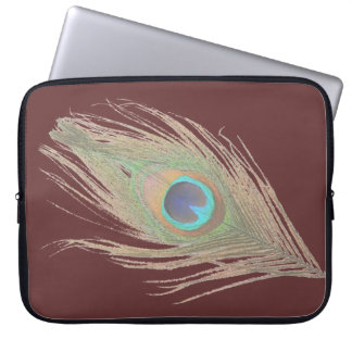Peacock Feather on Brown Laptop Sleeve