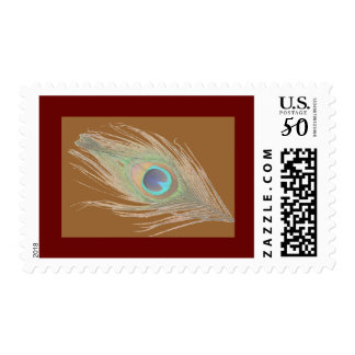 Peacock Feather on Brown with a dark Red Border Postage