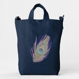 Peacock Feather on Dark Blue Duck Canvas Bag