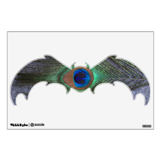 Peacock Feather on Gray Bat Wall Decal
