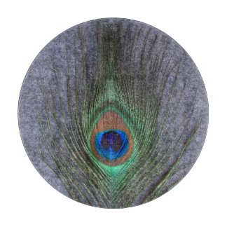Peacock Feather on Gray Cutting Boards
