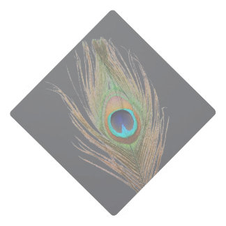 Peacock Feather on Gray Graduation Cap Topper