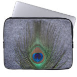 Peacock Feather on Gray Laptop Computer Sleeves