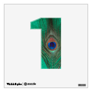 Peacock Feather on Green 1 Wall Decal