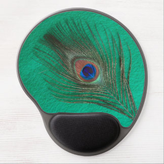 Peacock Feather on Green Gel Mouse Pad