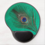 Peacock Feather on Green Gel Mousepads