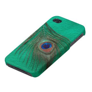 Peacock Feather on Green iPhone 4 Cover