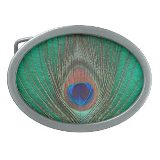 Peacock Feather on Green Oval Belt Buckle