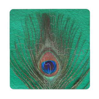 Peacock Feather on Green Puzzle Coaster