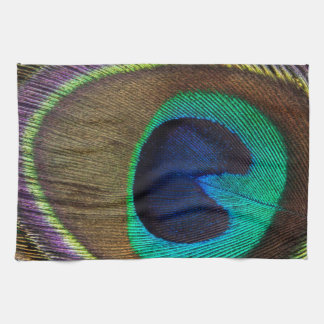 Peacock Feather On Left Side Close-Up Towel