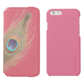 Peacock Feather on Pink Add Photo iPhone 6/6s Wallet Case