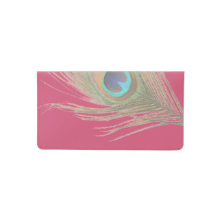 Peacock Feather on Pink Checkbook Cover