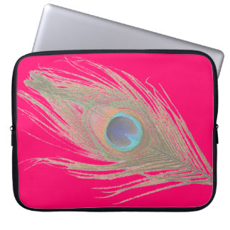 Peacock Feather on Pink Computer Sleeve