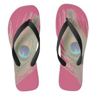 Peacock Feather on Pink Flip Flops