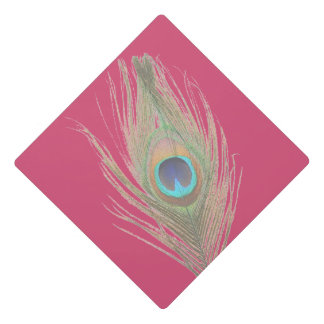 Peacock Feather on Pink Graduation Cap Topper
