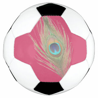 Peacock Feather on Pink Soccer Ball