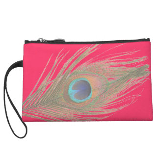 Peacock Feather on Pink Wristlet Wallet