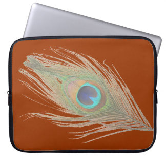 Peacock Feather on Rust Laptop Computer Sleeves