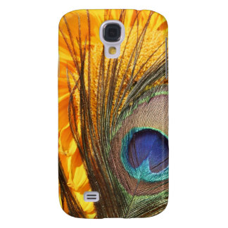 Peacock feather on sunflower samsung galaxy s4 cases