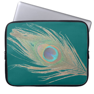 Peacock Feather on Teal Laptop Sleeve
