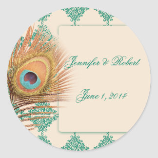 Peacock Feather on Teal Moroccan Envelope Seal Classic Round Sticker