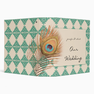 Peacock Feather on Teal Moroccan Tile 3 Ring Binder